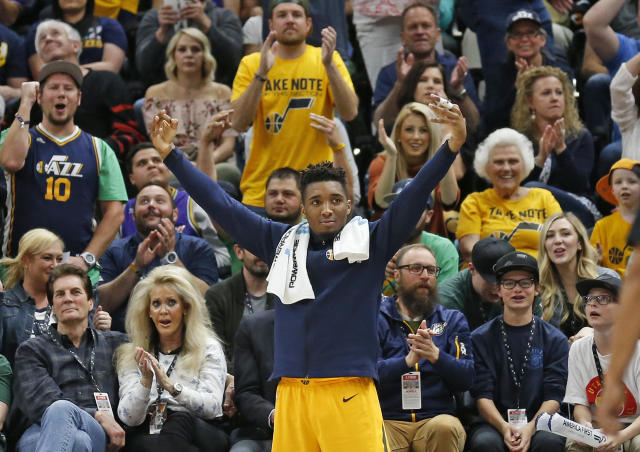 Utah's Donovan Mitchell is making his Rookie of the Year case on and off the court, taking a pregame shot at Ben Simmons on Tuesday. (AP)