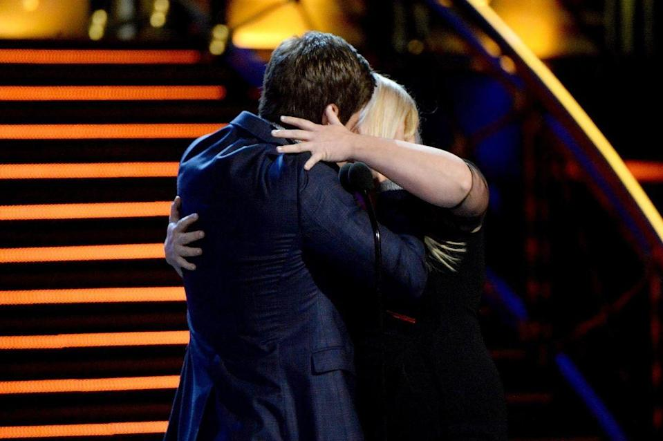 <p> The comedians accepted the Best Kiss award on behalf of their Pitch Perfect 2 characters and naturally put on a show for the awards' audience too.</p>