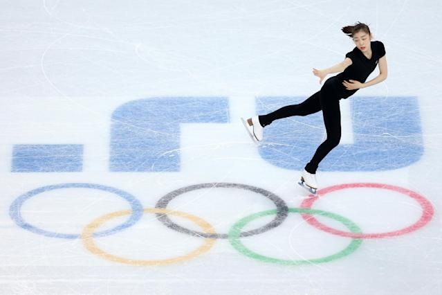 SOCHI, RUSSIA - FEBRUARY 18: Yuna Kim of South Korea has a training session on day 11 of the Sochi 2014 Winter Olympics at Iceberg Skating Palace on February 18, 2014 in Sochi, Russia. (Photo by Matthew Stockman/Getty Images)
