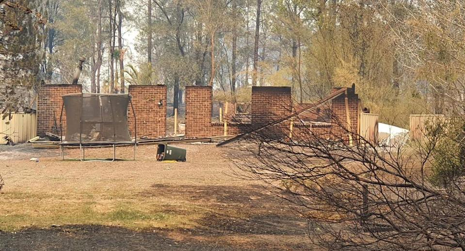 A burnt down home in Willwarrin is pictured.