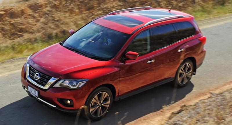A stock shot of a 2017 Nissan Pathfinder, similar to the one driven by Chloe Stewart.