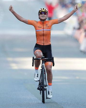 Chantal Blaak of the Netherlands crosses the finish line to win first place in UCI Cycling Road World Championships Women Elite Road Race in Bergen, Norway September 23, 2017. NTB scanpix/Cornelius Poppe/via REUTERS