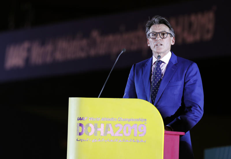 IAAF President Sebastian Coe speaks during the opening ceremony for the World Athletics Championships on the Corniche in Doha, Qatar, Friday, Sept. 27, 2019. (AP Photo/Hassan Ammar)