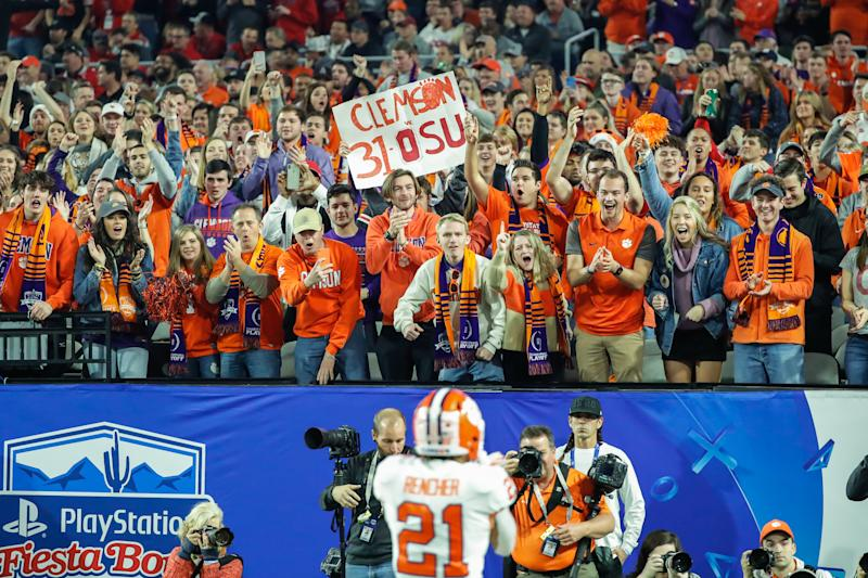Clemson Tigers fans cheer during the CFP semifinal between Clemson and Ohio State on Dec. 28, 2019. (Kevin Abele/Icon Sportswire via Getty Images)