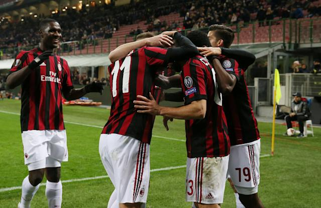 Soccer Football - Europa League Round of 32 Second Leg - AC Milan vs PFC Ludogorets Razgrad - San Siro, Milan, Italy - February 22, 2018 AC Milan's Fabio Borini celebrates scoring their first goal with Franck Kessie and team mates REUTERS/Tony Gentile