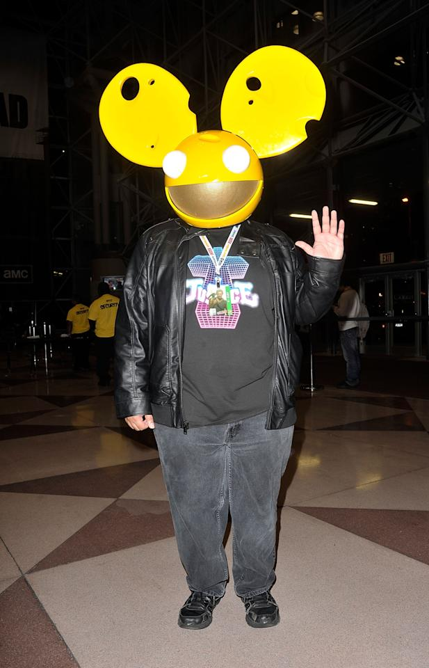 NEW YORK, NY - OCTOBER 11:  A Comic Con attendee wearing a Deadmau5 costume poses during the 2012 New York Comic Con at the Javits Center on October 11, 2012 in New York City.  (Photo by Daniel Zuchnik/Getty Images)