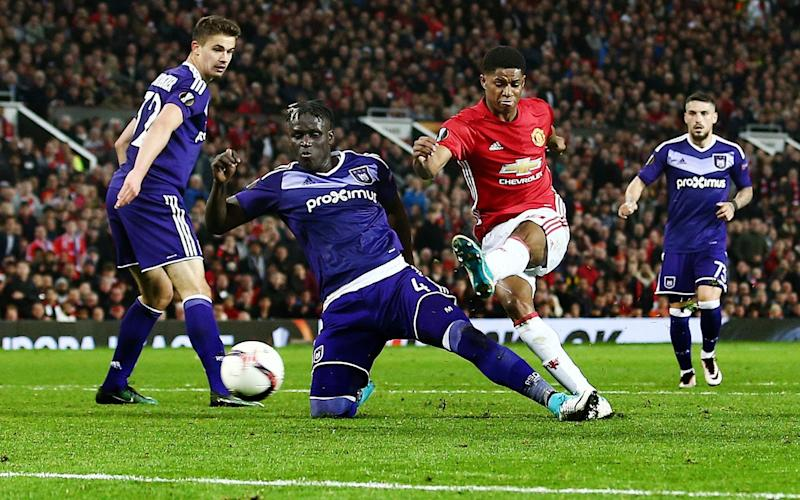 Rashford scores Manchester United's second after a deft flick  - Credit: Matt West/BPI/REX/Shutterstock