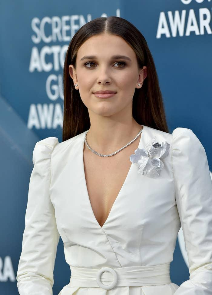Millie Bobby Brown is photographed at a red carpet event