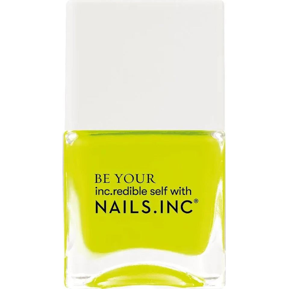 """<p><strong>Nails.INC </strong></p><p>target.com</p><p><strong>$7.99</strong></p><p><a href=""""https://www.target.com/p/nails-inc-naked-in-neon-nail-polish-4-6-fl-oz/-/A-80512509"""" rel=""""nofollow noopener"""" target=""""_blank"""" data-ylk=""""slk:Shop Now"""" class=""""link rapid-noclick-resp"""">Shop Now</a></p><p>This highlighter shade is hard to miss, and pigmented enough that you don't need a coat of white underneath to see it (IYKYK).</p>"""