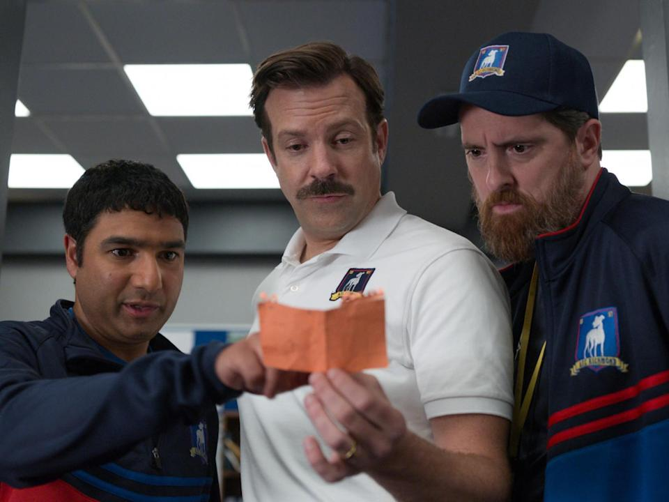 Nick Mohammed, Jason Sudeikis and Brendan Hunt in 'Ted Lasso': Apple TV