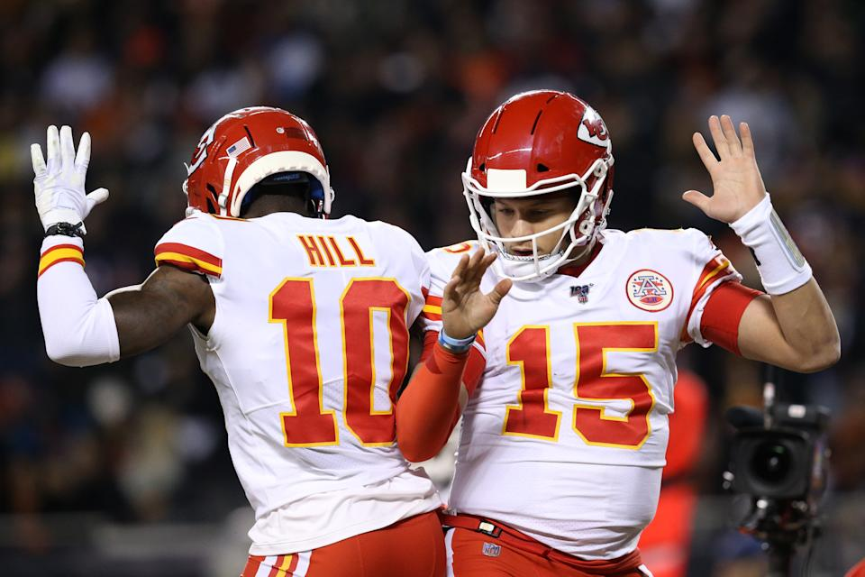 The viral meme featuring Kansas City Chiefs stars Patrick Mahomes and Tyreek Hill is finally available in t-shirt form. (Photo by Dylan Buell/Getty Images)