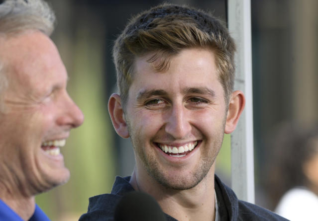 UCLA quarterback Josh Rosen, right, is interviewed by NFL Network reporter Mike Mayock following UCLA's pro day. (AP)