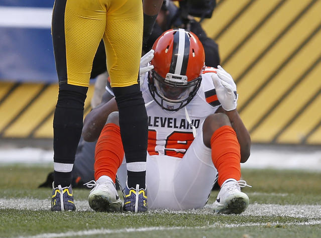Cleveland Browns wide receiver Corey Coleman sits on the field after allowing a pass from DeShone Kizer to go through his hands for an incompletion during a loss to the Steelers in Pittsburgh. (AP Photo)