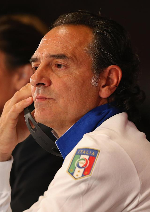 KIEV, UKRAINE - JUNE 30: In this handout image provided by UEFA, Coach Cesare Prandelli of Italy talks to the media during a UEFA EURO 2012 press conference at the Olympic Stadium on June 30, 2012 in Kiev, Ukraine. (Photo by Handout/UEFA via Getty Images)