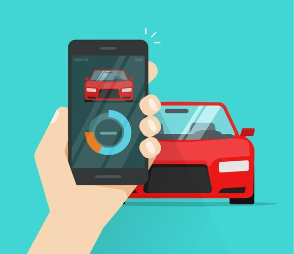 A cartoon hand holding a mobile phone up as if taking a picture of a red car