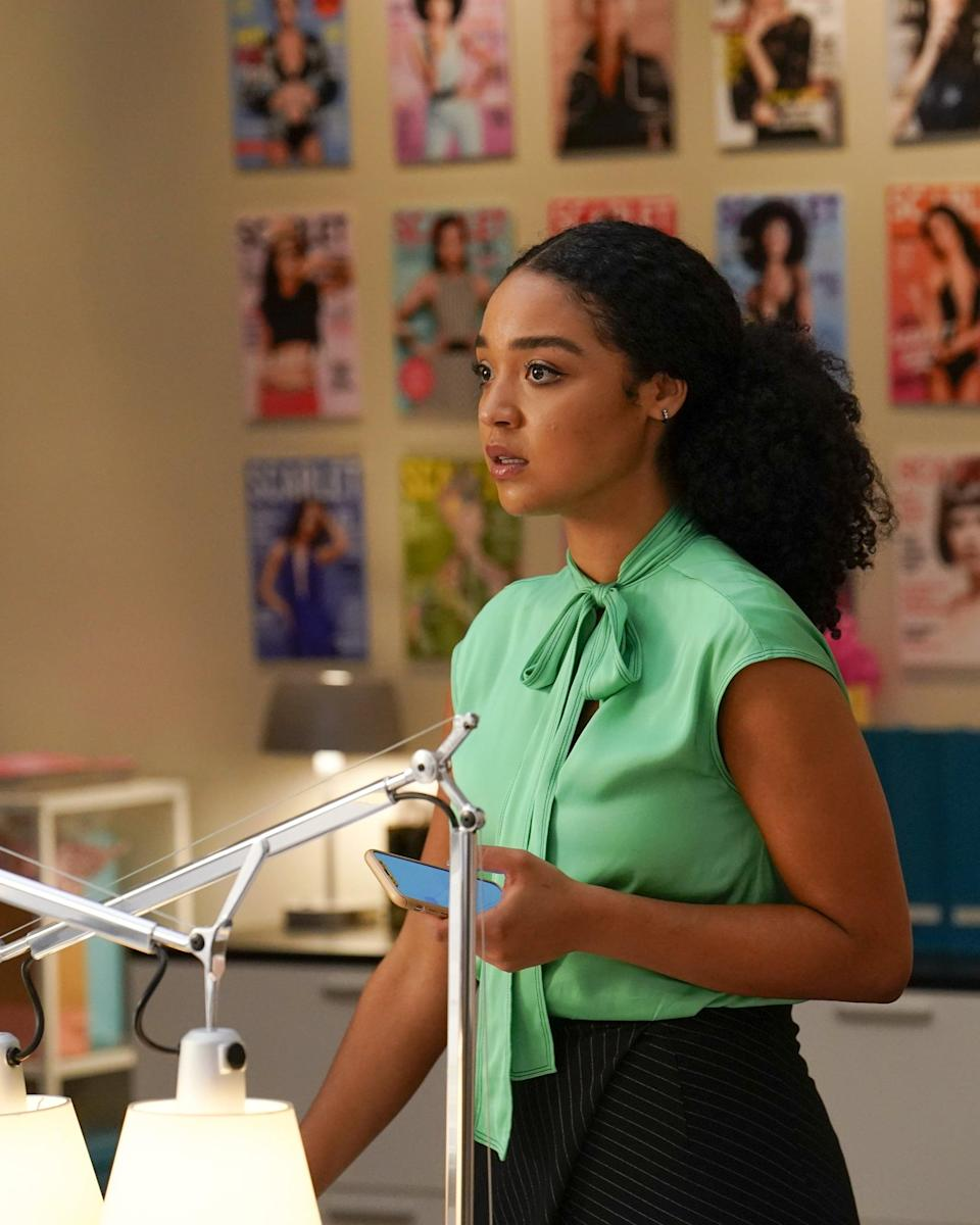<p>We love that Kat's office ensembles usually come with a bright pop of color. </p>