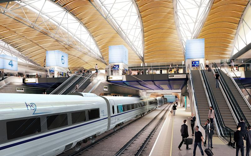 An artist's impression issued by HS2 of the proposed HS2 station at Euston. HS2 is set to link London, Birmingham, the East Midlands, Leeds and Manchester - PA