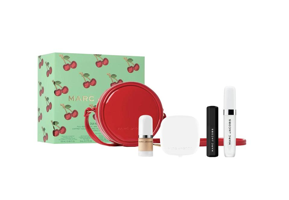 "<p>Anyone will smile seeing this adorable <a href=""https://www.sephora.com/product/marc-jacobs-beauty-oui-mon-cherry-set-P463903?icid2=products%20grid:p463903"" class=""link rapid-noclick-resp"" rel=""nofollow noopener"" target=""_blank"" data-ylk=""slk:Marc Jacobs Beauty  Oui Mon Cherry Set"">Marc Jacobs Beauty<br> Oui Mon Cherry Set</a> ($49).</p>"