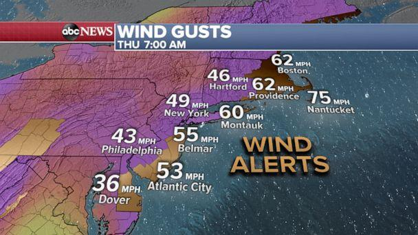 PHOTO: Wind gusts weather map. (ABC News)