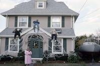 <p>This Boston homeowner went all out with her Halloween decorations. The three stuffed dummies and the cobweb are the perfect icing on the cake of a spooky home. </p>
