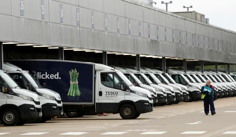 FILE PHOTO: General view of Tesco delivery vans at a depot in Enfield