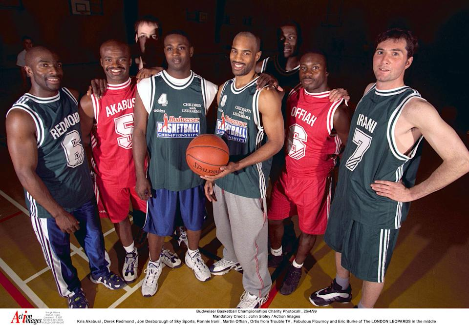 Budweiser Basketball Championships Charity Photocall , 26/4/99  Mandatory Credit : John Sibley / Action Images  Kris Akabusi , Derek Redmond , Jon Desborough of Sky Sports, Ronnie Irani , Martin Offiah , Ortis from Trouble TV , Fabulous Flournoy and Eric Burke of The LONDON LEOPARDS in the middle