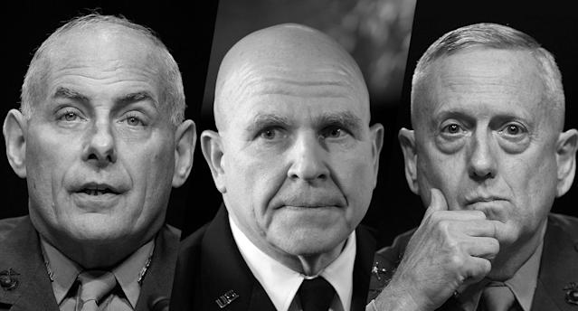 From left to right: Marine Gen. John F. Kelly, Army Gen. H.R. McMaster and Marine Corps Gen. James Mattis (Yahoo News photo Illustration; photos: AP, Getty)