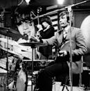 <p>Charlie Watts of The Rolling Stones, during rehearsals for an episode of the Friday night TV pop/rock show 'Ready Steady Go!', at Associated-Rediffusion's Television House studios in London, 26th February 1965.</p>