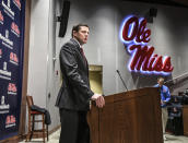 Mississippi athletic director Keith Carter discusses the future of the football program during a news conference at the Manning Center, in Oxford, Miss. on Monday, Dec. 2, 2019. Mississippi fired football coach Matt Luke on Sunday, three days after his third non-winning season ended with an excruciating rivalry game loss. (Bruce Newman/The Oxford Eagle via AP)