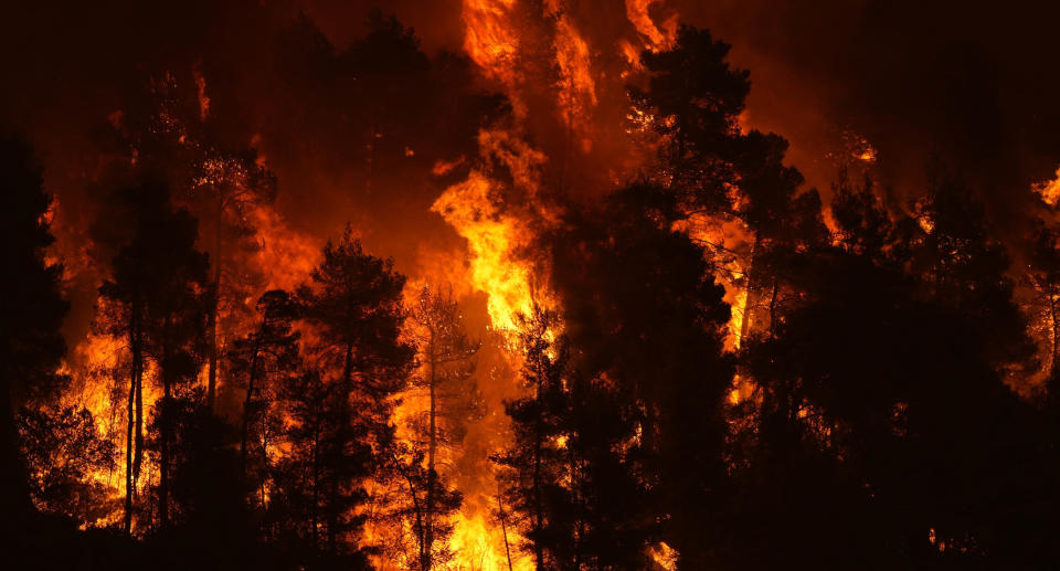 Flames approaching at Gouves village on the island of Evia, about 185 kilometres north of Athens, Greece, Sunday, Aug. 8, 2021. Source: AAP