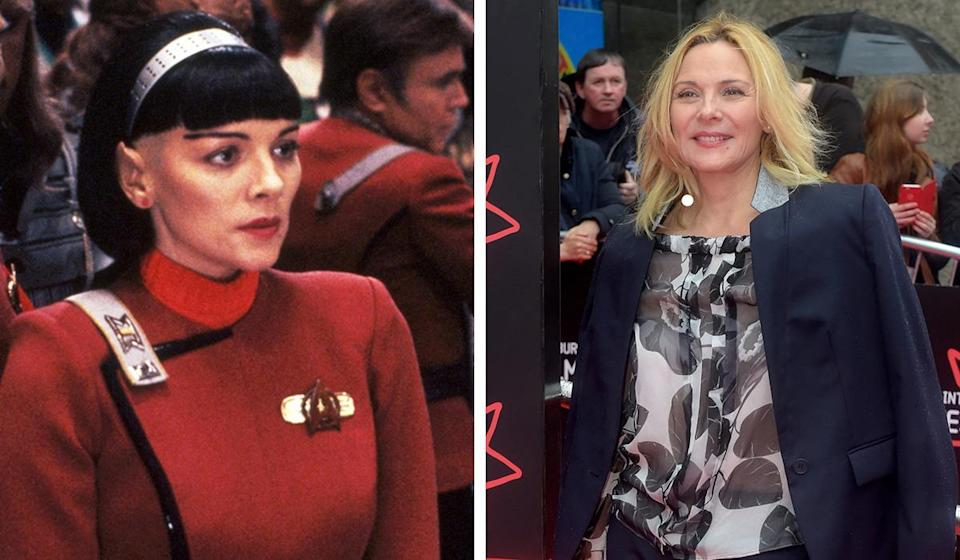 <p>The 'Sex and the City' star played the crucial role of Lt. Valeris in 'The Undiscovered Country', a Vulcan who turns out to be a turncoat trying to destroy peace talks. She ends up getting totally mind-melded by Spock.</p>