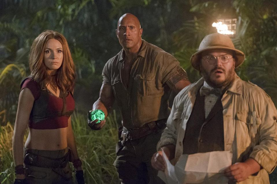 Spot the difference…? Karen Gillan with Dwayne Johnson and Jack Black in 'Jumanji: Welcome to the Jungle' (credit: Sony)
