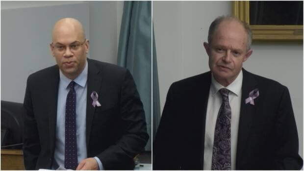Liberal MLA Gord McNeilly, left, had several questions for Health Minister Ernie Hudson, right, in the legislature Friday about keeping dementia patients in the QEH's psychiatric unit as they wait for nursing home beds. (Legislative Assembly of P.E.I.  - image credit)