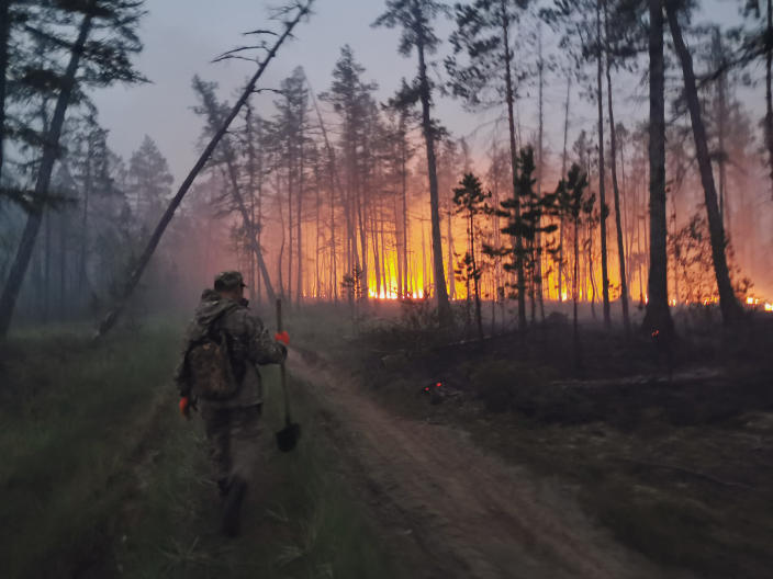 FILE - In this Saturday, July 17, 2021 file photo, a volunteer walks to douse a forest fire in the republic of Sakha also known as Yakutia, Russia Far East. Russia has been plagued by widespread forest fires, blamed on unusually high temperatures and the neglect of fire safety rules, with Sakha-Yakutia in northeastern Siberia being the worst affected region lately.Each year, thousands of wildfires engulf wide swathes of Russia, destroying forests and shrouding broad territories in acrid smoke. This summer has seen particularly massive fires in Yakutia in northeastern Siberia following unprecedented heat. (AP Photo/Ivan Nikiforov, File)