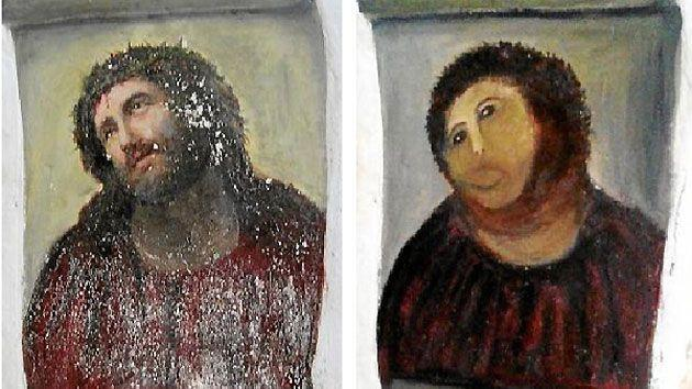 The fresco - before and after