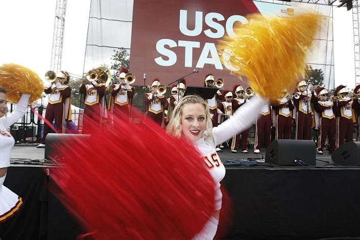 The USC Song Girls perform during the kickoff of the Los Angeles Times Festival of Books in 2014