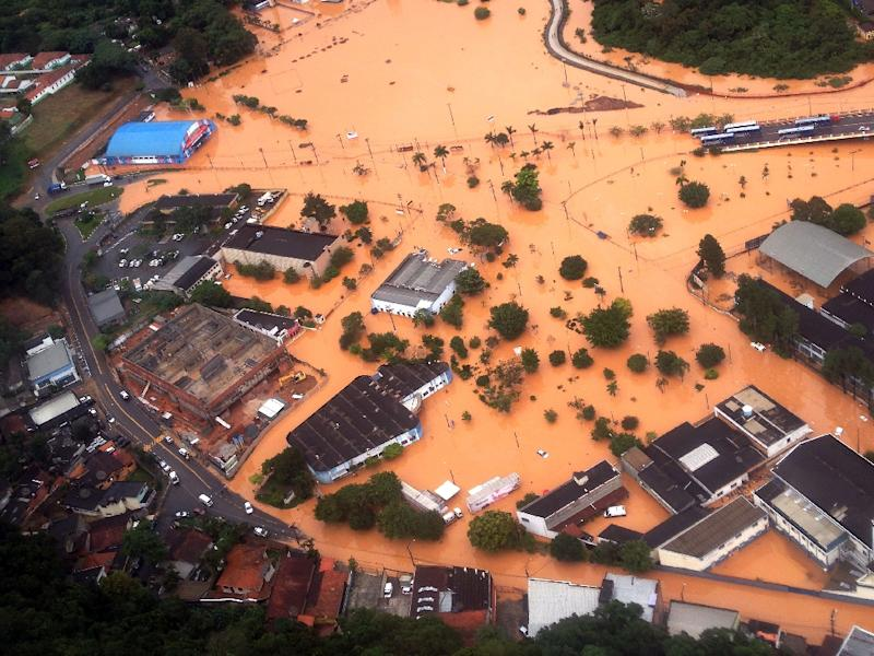 Aerial view of a flooded area in the municipality of Franco da Rocha, some 26 km from Sao Paulo, Brazil, taken on March 11, 2016
