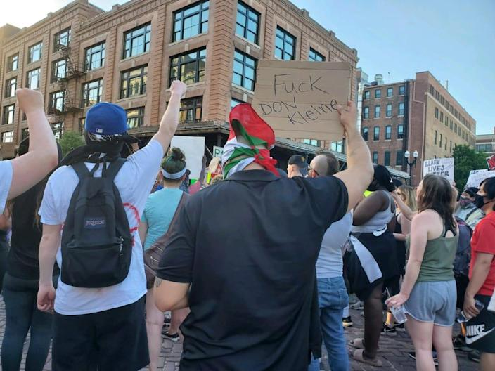 """<div class=""""inline-image__caption""""> <p>Protesters in Omaha are angry that Douglas County Attorney Don Kleine chose not to bring charges against a white bar owner who killed a black man.</p> </div> <div class=""""inline-image__credit""""> Michelle Renne Leach </div>"""