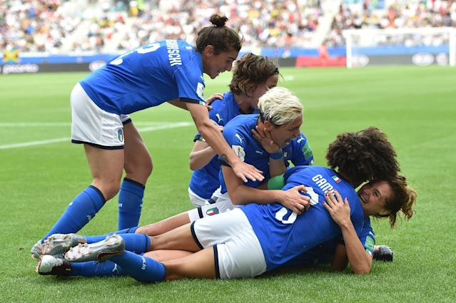 REIMS, FRANCE - JUNE 14: Cristiana Girelli of Italy celebrates after scoring her second goal during the 2019 FIFA Women's World Cup France group C match between Jamaica and Italy at Stade Auguste Delaune on June 14, 2019 in Reims, France. (Photo by Tullio M. Puglia/Getty Images)