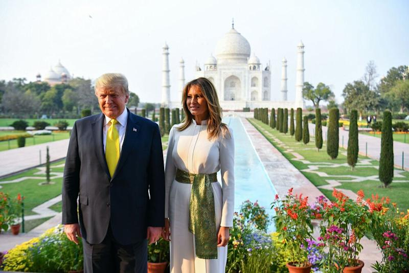 From left: President Donald Trump and First Lady Melania Trump at the Taj Mahal | MANDEL NGAN/AFP/Getty