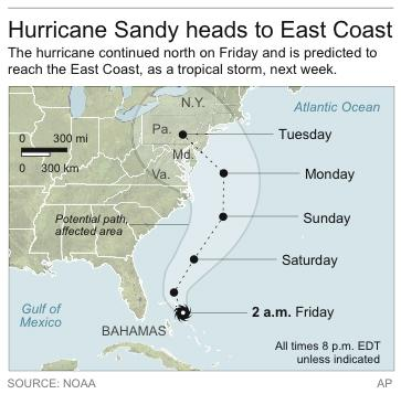 Map shows path of Hurricane Sandy
