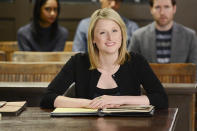 <p>Nancy Crozier (Mamie Gummer) was one of Alicia's greatest adversaries. Young, bright, and deceptively naive, she was actually a cobra whose bite made even the audience sit up a little higher in their chairs. <i>(Credit: David Giesbrecht/CBS)</i></p>