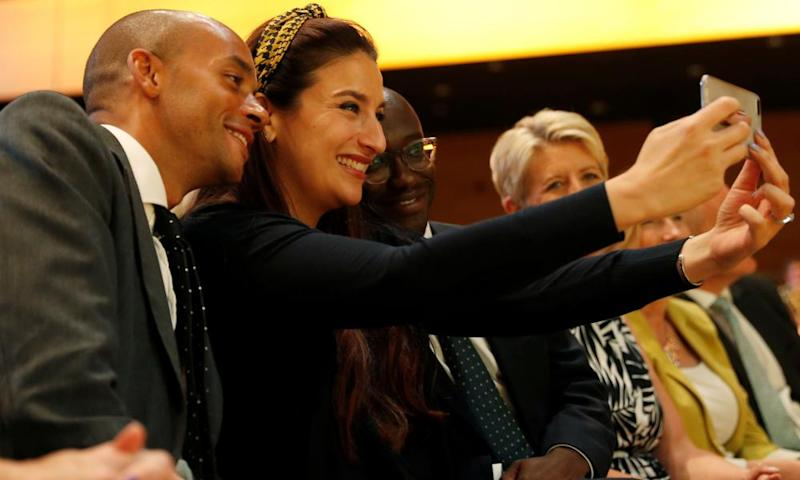 Luciana Berger takes a selfie with Chuka Umunna and Sam Gyimah