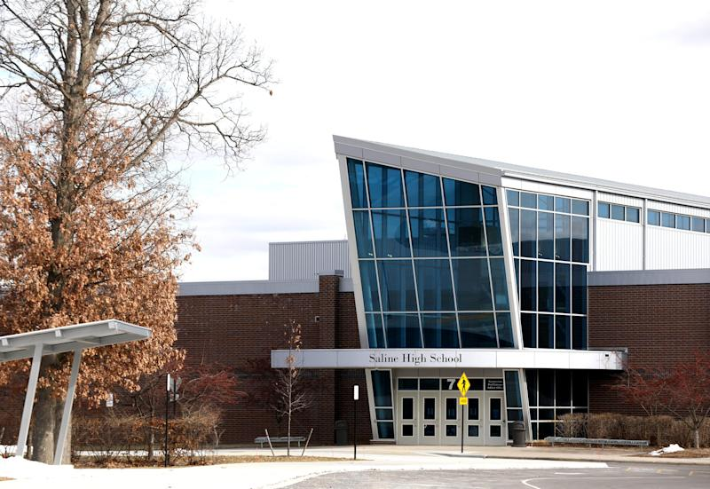 Saline High School as seen on Wednesday, February 5, 2020. The city and the school made national news on Monday when at a parent meeting on diversity and inclusion, racist language was used from one parent to another.