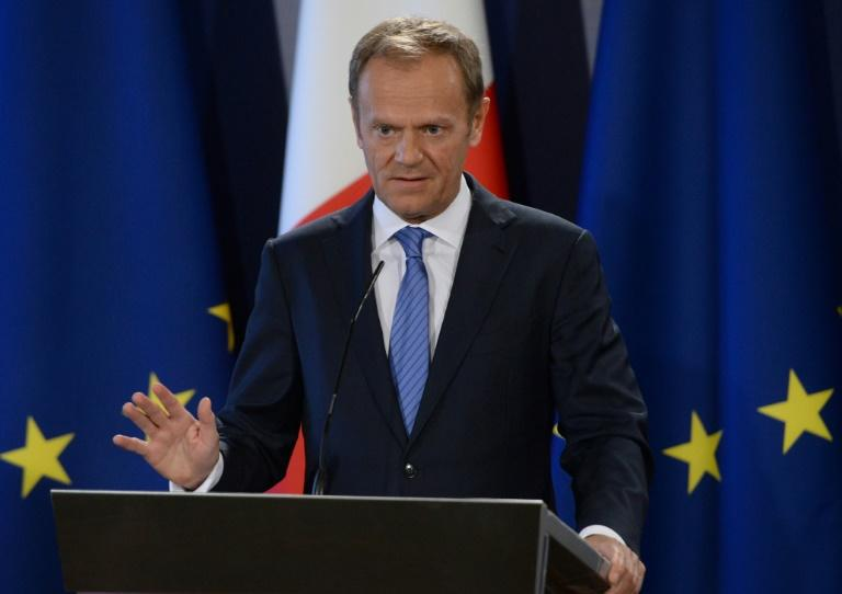 Donald Tusk, President of the European Council, speaks during a press conference in St Julian's, Malta on March 31, 2017 as the EU laid out its Brexit negotiating plans