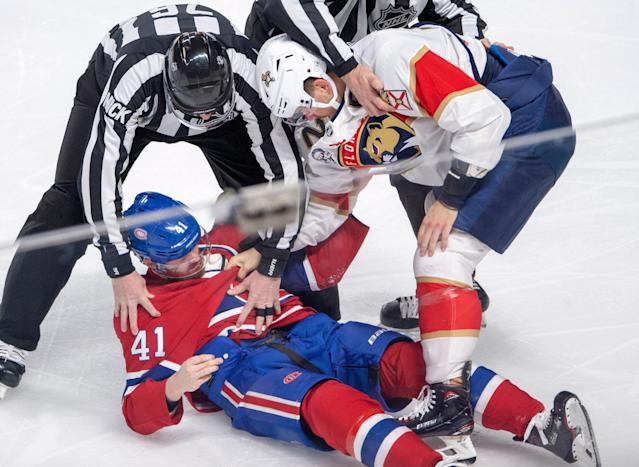 Paul Byron had no business fighting the much larger MacKenzie Weegar in response to a January 15 head hit. (Getty)