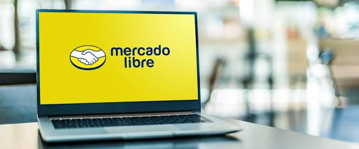 Laptop computer displaying logo of Mercado Libre, an Argentine company that operates online marketplaces dedicated to e-commerce and online auctions