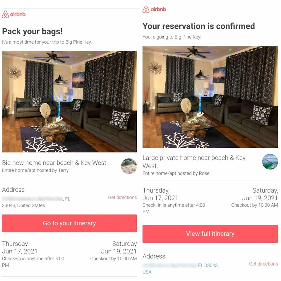Two Airbnb listings in Florida had identical photos and the same address. Source: Twitter/@ScottMulkey76