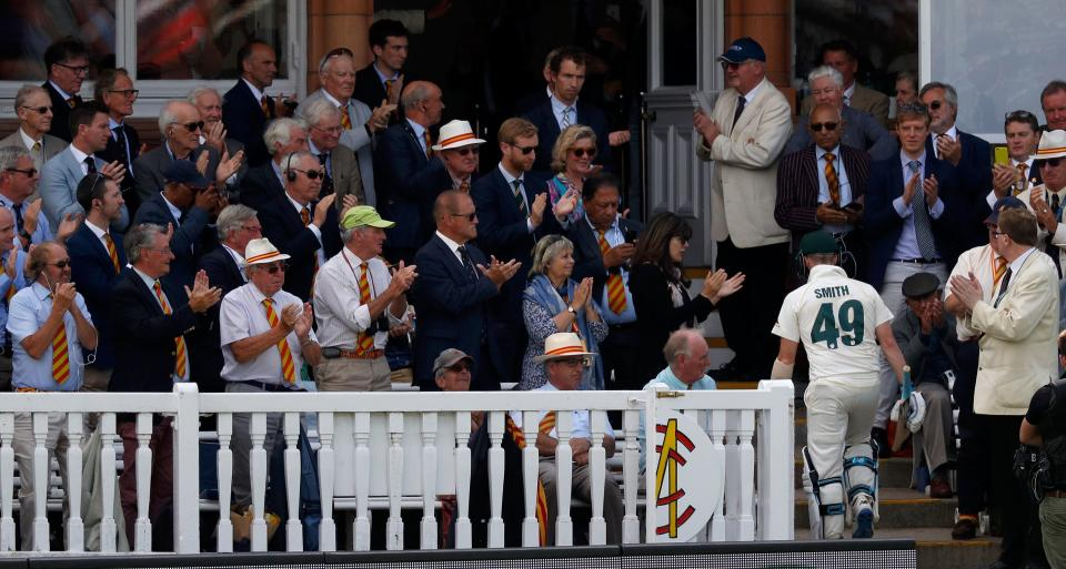 Australia's Steve Smith walks back to the pavilion after losing his wicket for 92 runs during play on the fourth day of the second Ashes cricket Test match between England and Australia at Lord's Cricket Ground in London on August 17, 2019. (Photo by Adrian DENNIS / AFP) / RESTRICTED TO EDITORIAL USE. NO ASSOCIATION WITH DIRECT COMPETITOR OF SPONSOR, PARTNER, OR SUPPLIER OF THE ECB        (Photo credit should read ADRIAN DENNIS/AFP/Getty Images)