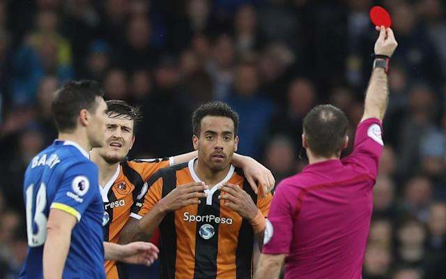 <span>Tom Huddlestone was sent off</span> <span>Credit: GETTY IMAGES </span>